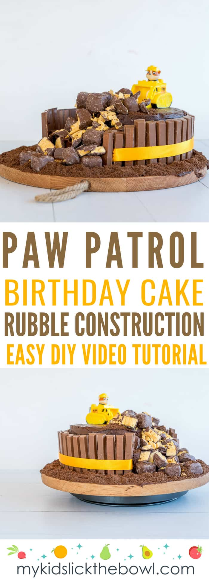 Chocolate Paw Patrol Construction Cake Featuring Rubble
