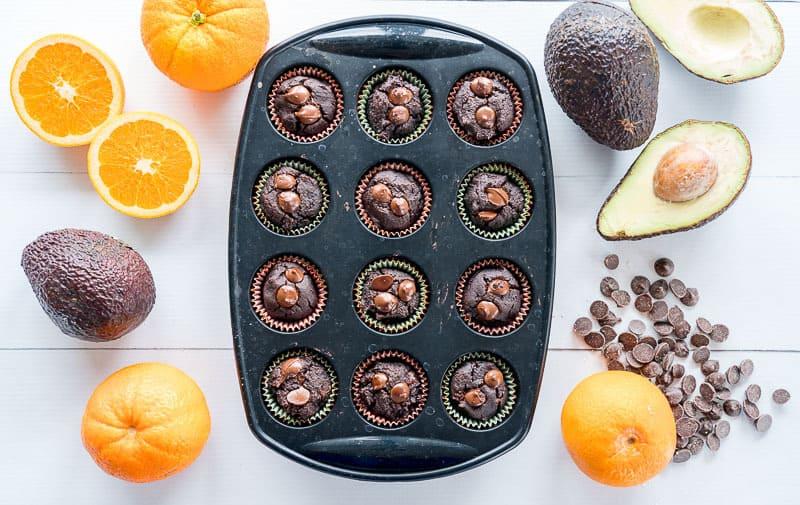Avocado muffins in muffin tin