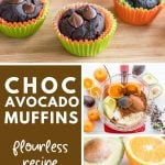 collage of images showing chocolate avocado muffins