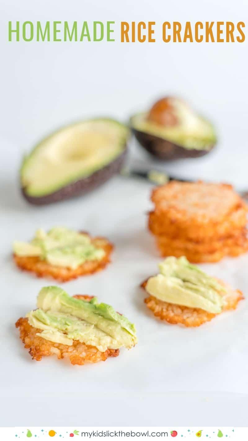 homemade rice cracker recipe topped with avocado
