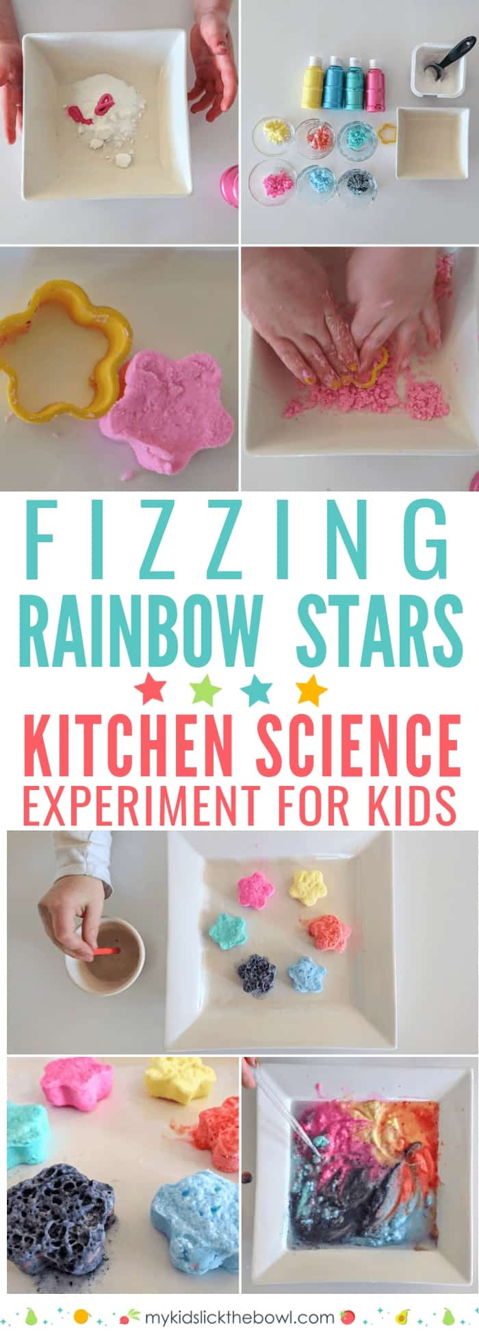 Fizzing Rainbow Stars a Kitchen Science Experiment