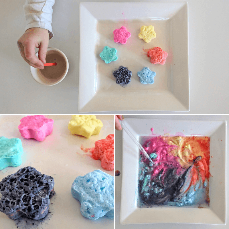 Kitchen science experiments- rainbow fizzing stars