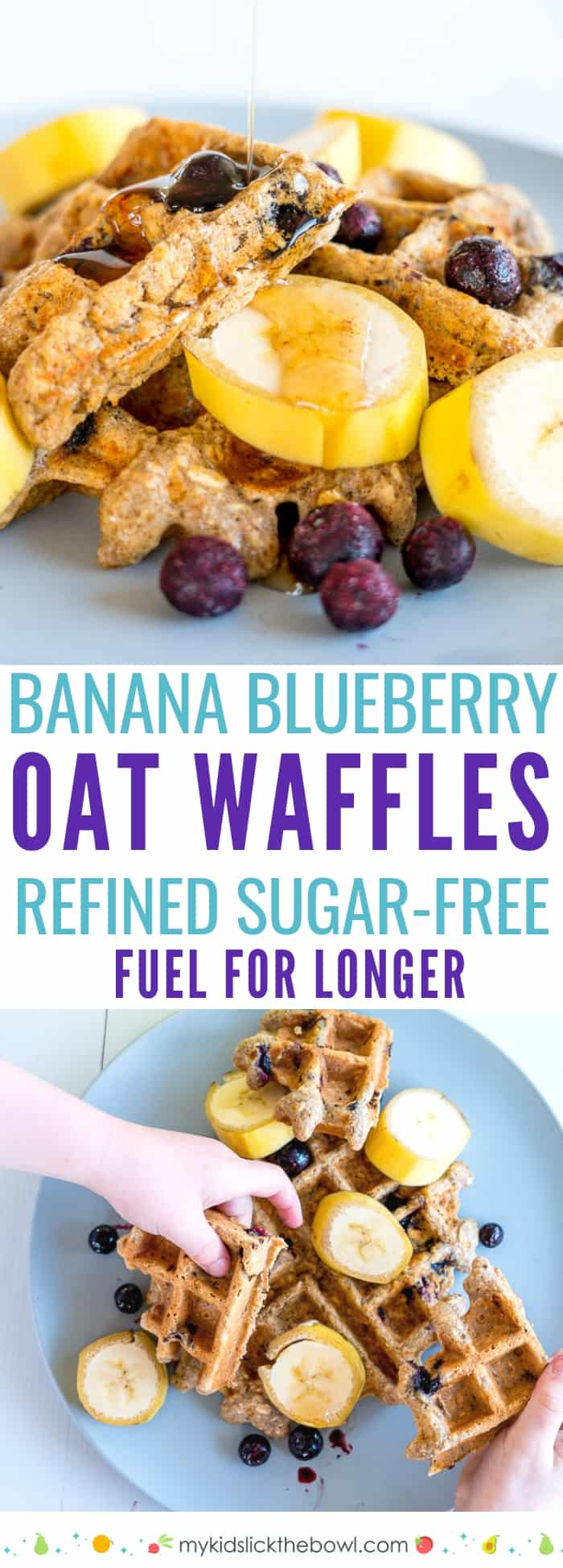 An easy healthy waffle recipe, made with whole wheat and oats, flavoured with banana and blueberries, a delicious high protein and fibre breakfast, snack or for lunchboxes#waffles #breakfast #breakfastrecipes #cleaneating #healthyrecipes #healthydiets #healthysnacks