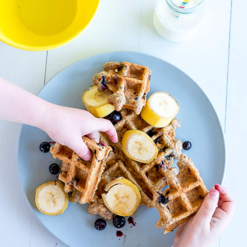 Banana, Oat & Blueberry Waffles