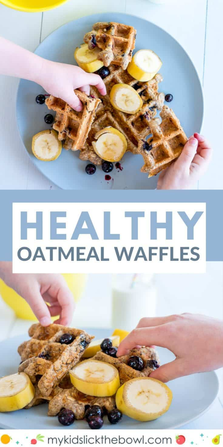 Healthy breakfast waffles, made with oatmeal, banana and blueberry these easy waffles fuel the kids for hours! Suitable for baby led weaning #waffles, #babyledweaning #healthywaffles