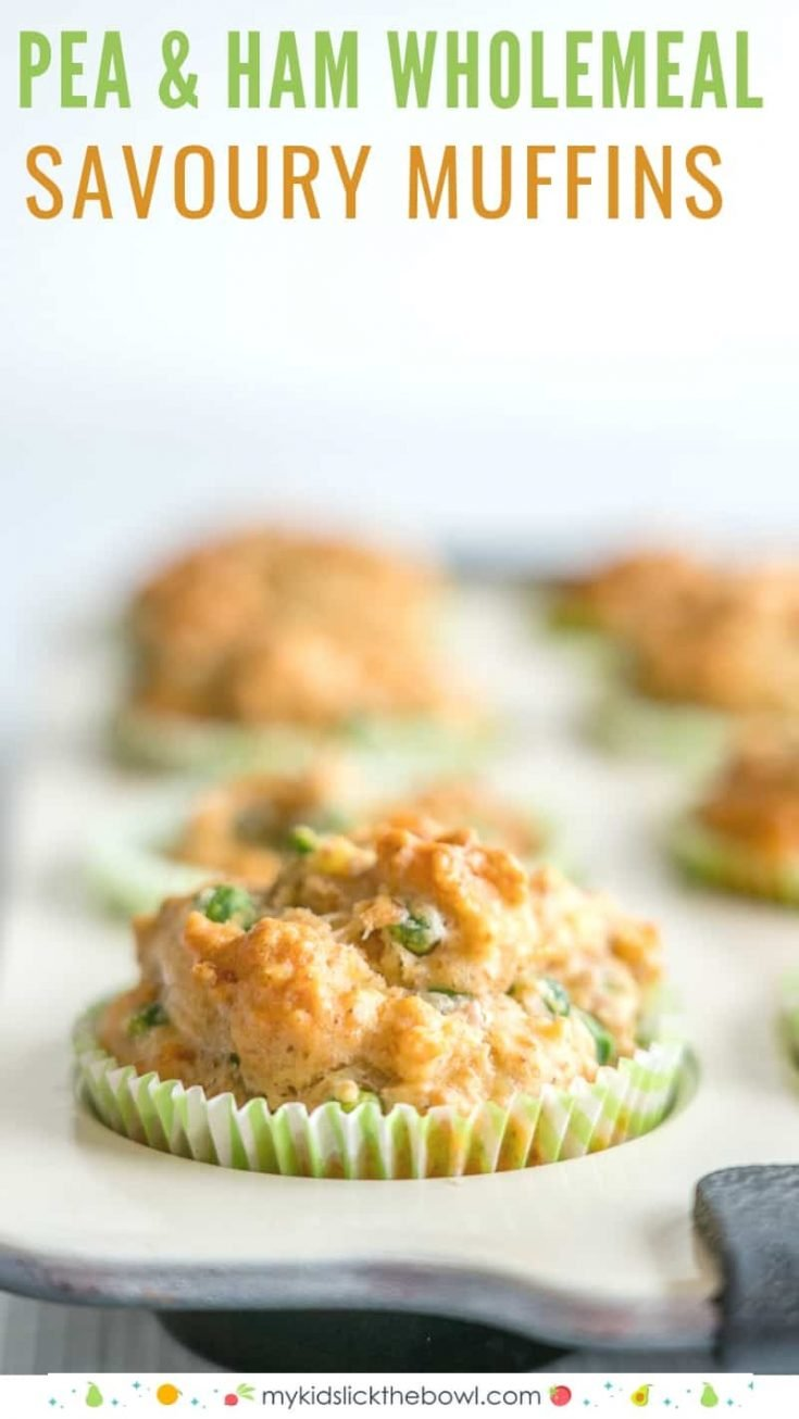 Healthy easy wholemeal savoury muffins perfect for kids, savory combination of cheese, frozen peas and ham #muffins #healthyrecipes #healthysnacks #healthy