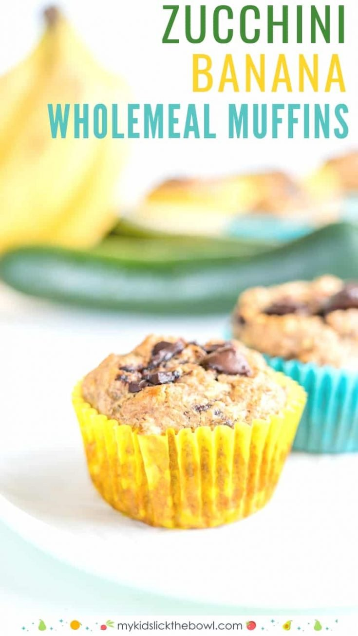 Healthy banana zucchini muffins with chocolate chips an easy recipe made with wholemeal flour perfect for a picky eater #muffins #muffinrecipes #pickyeater #kidsfood #healthysnack