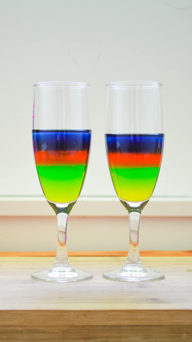 Sugar Water Density Experiment Rainbow layered water in a glass