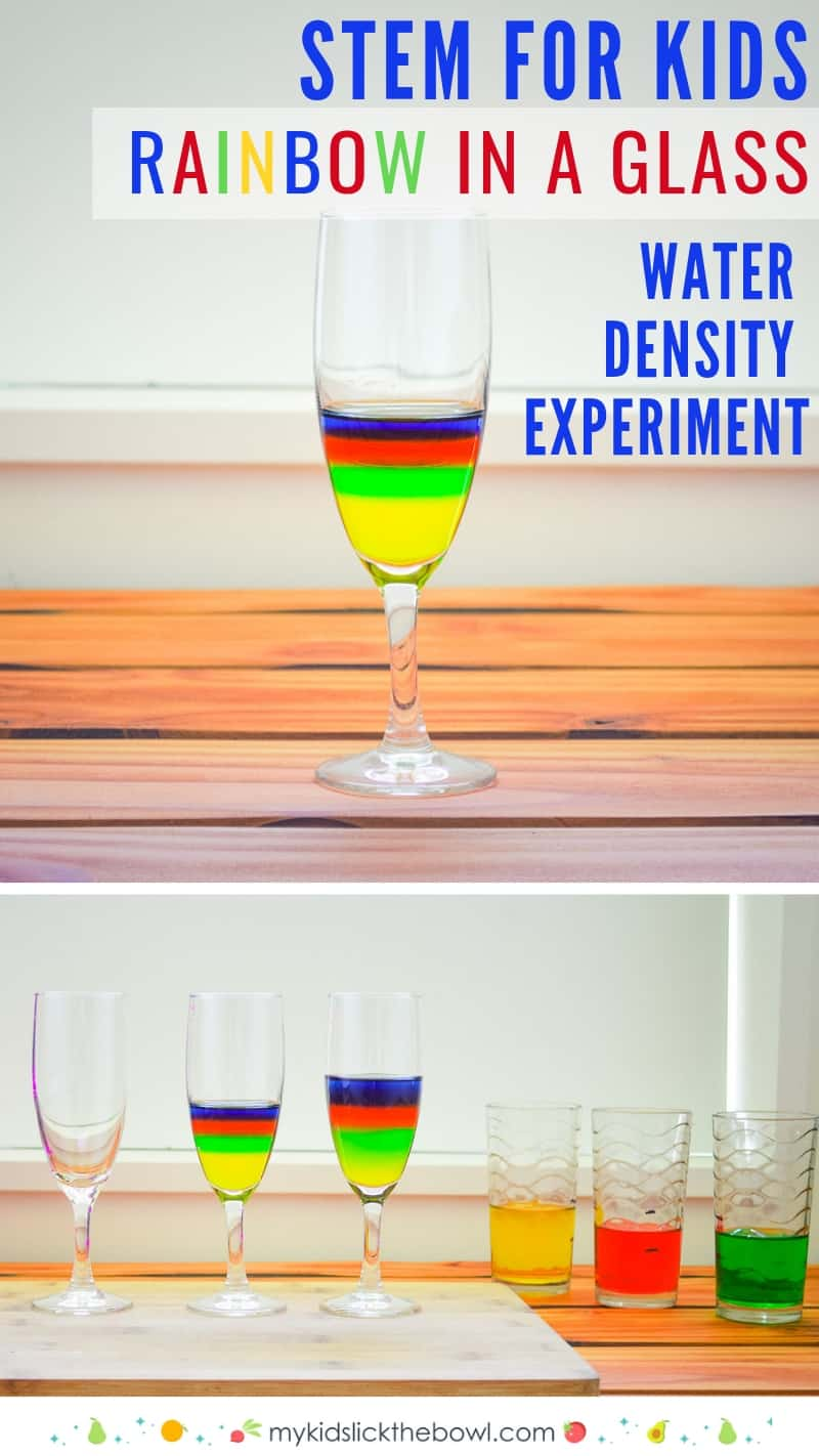 Rainbow layered water in a glass