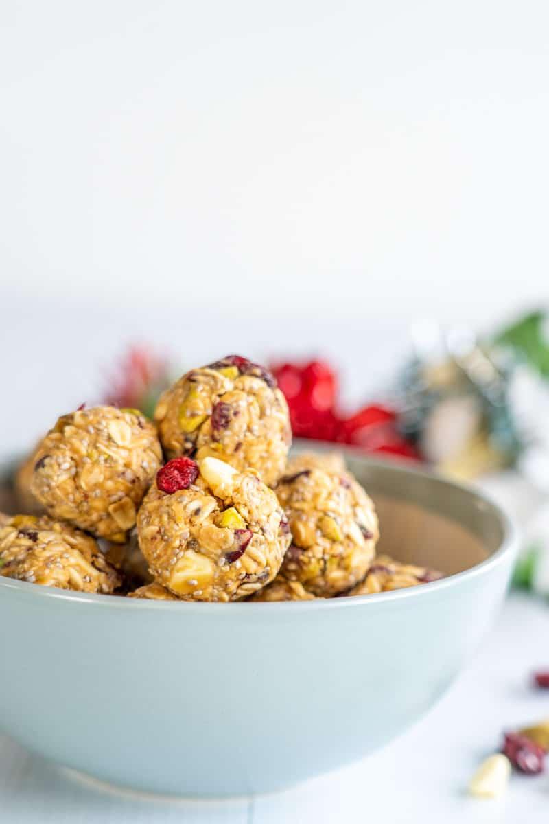 Bowl of cranberry Pistachio Energy Bites