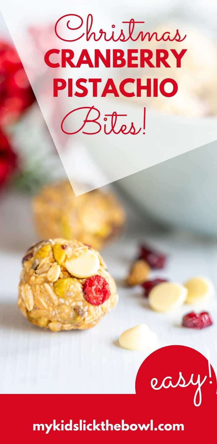 No-bake energy balls with Cranberry, Pistachio, White Chocolate and Chia Seeds, perfect for Christmas. These vegan energy bites make an easy snack for kids and adults alike#energybites #vegan #veganrecipe #veganchristmas #kidsfood #healthysnacks #healthysnacksforkids
