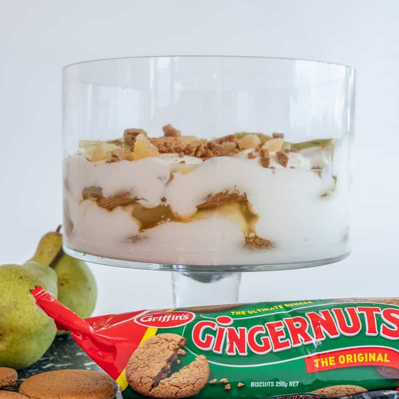 Ginger Pear Parfait with a pack of gingernut biscuits