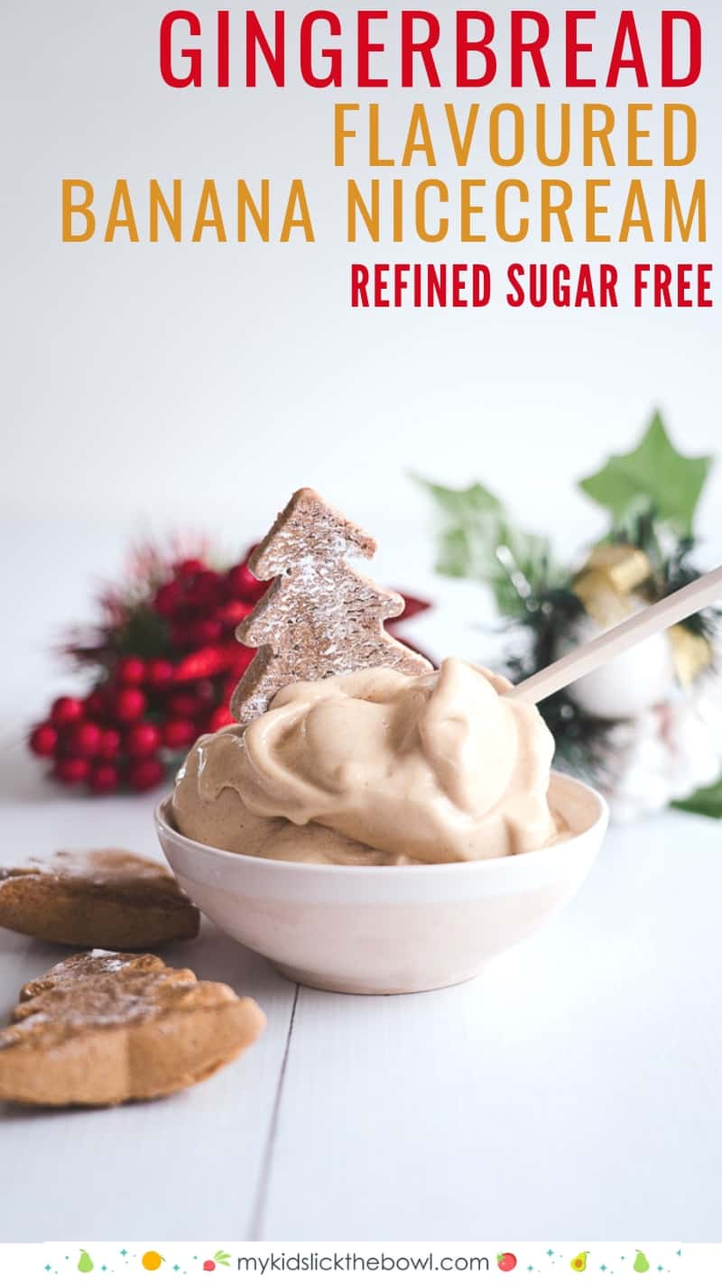 bowl of gingerbread flavoured nice cream decorated with a christmas tree cookie