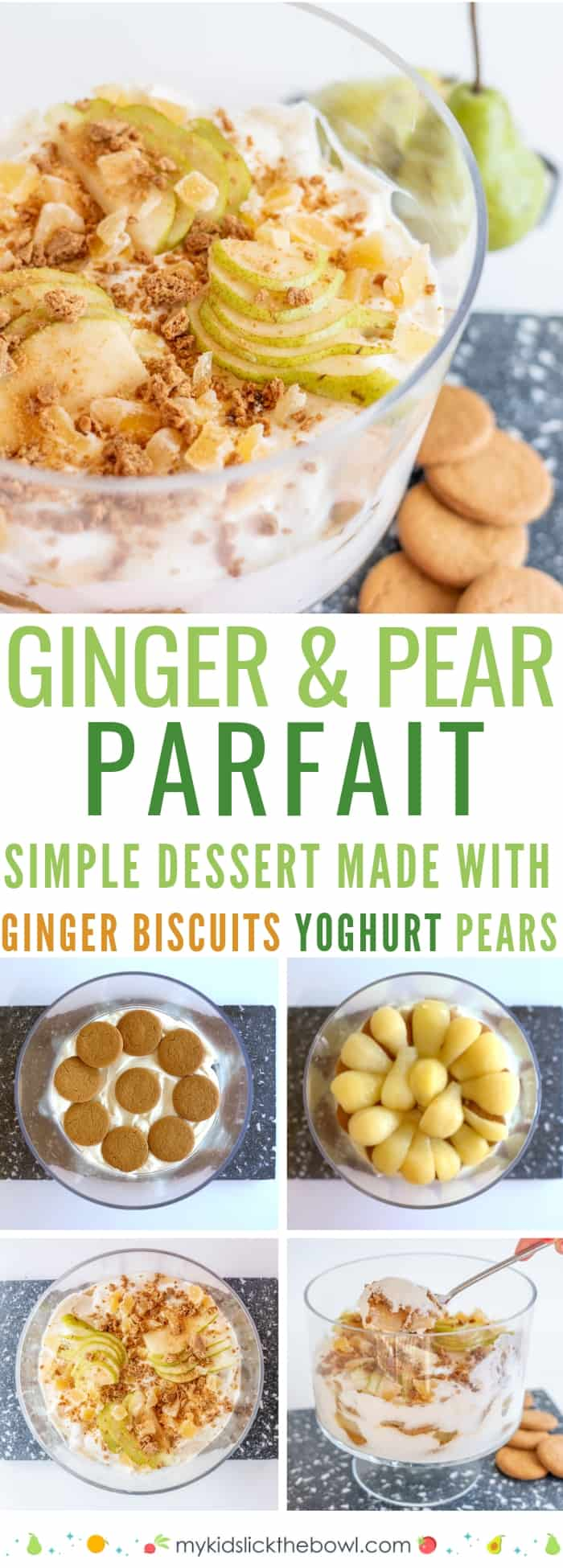 Ginger and pear parfait step by step images