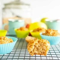 Healthy apple cinnamon muffin on a cooling rack