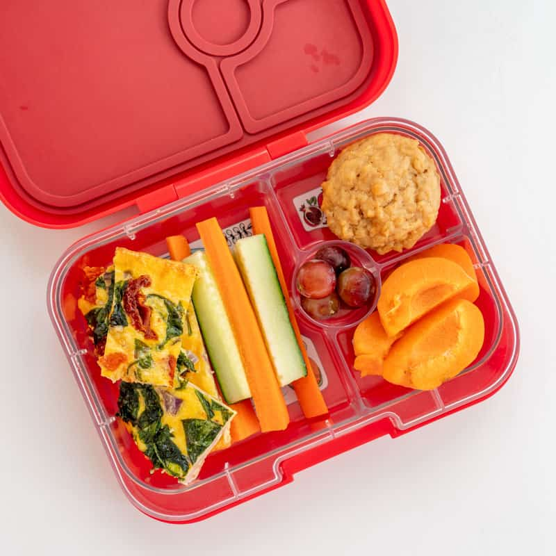 Sheet Pan Frittata packed into a lunchbox