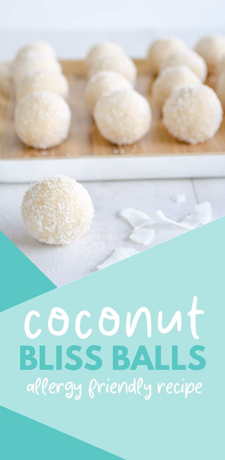 coconut snowballs, easy refined sugar-free bliss ball recipe, an allergy-friendly treat or snack, gluten and dairy-free