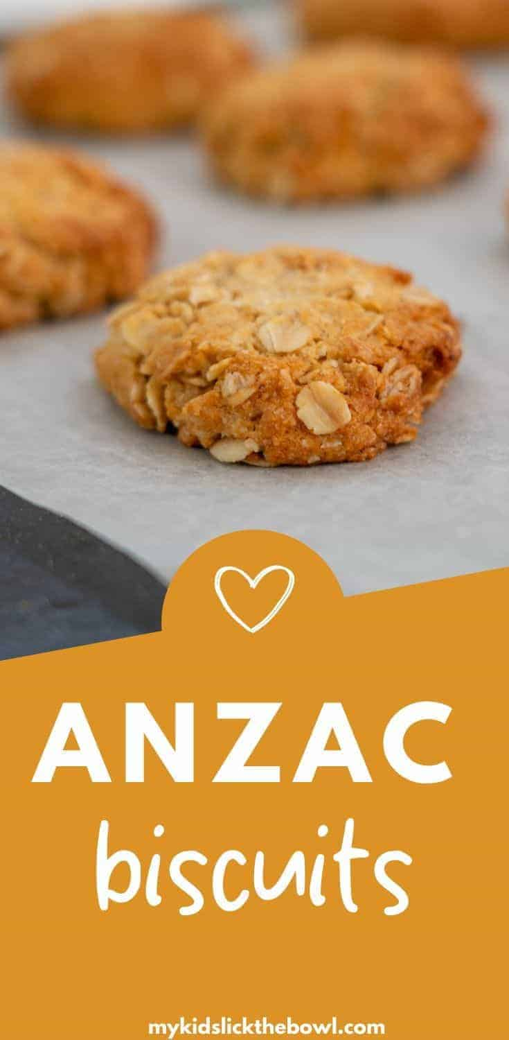 An easy Anzac biscuits recipe, A classic in New Zealand and Australia, a chewy oatmeal cookie perfect to make on Anzac day, or anytime during the year #anzacbiscuits #anzacday #kiwiclassic