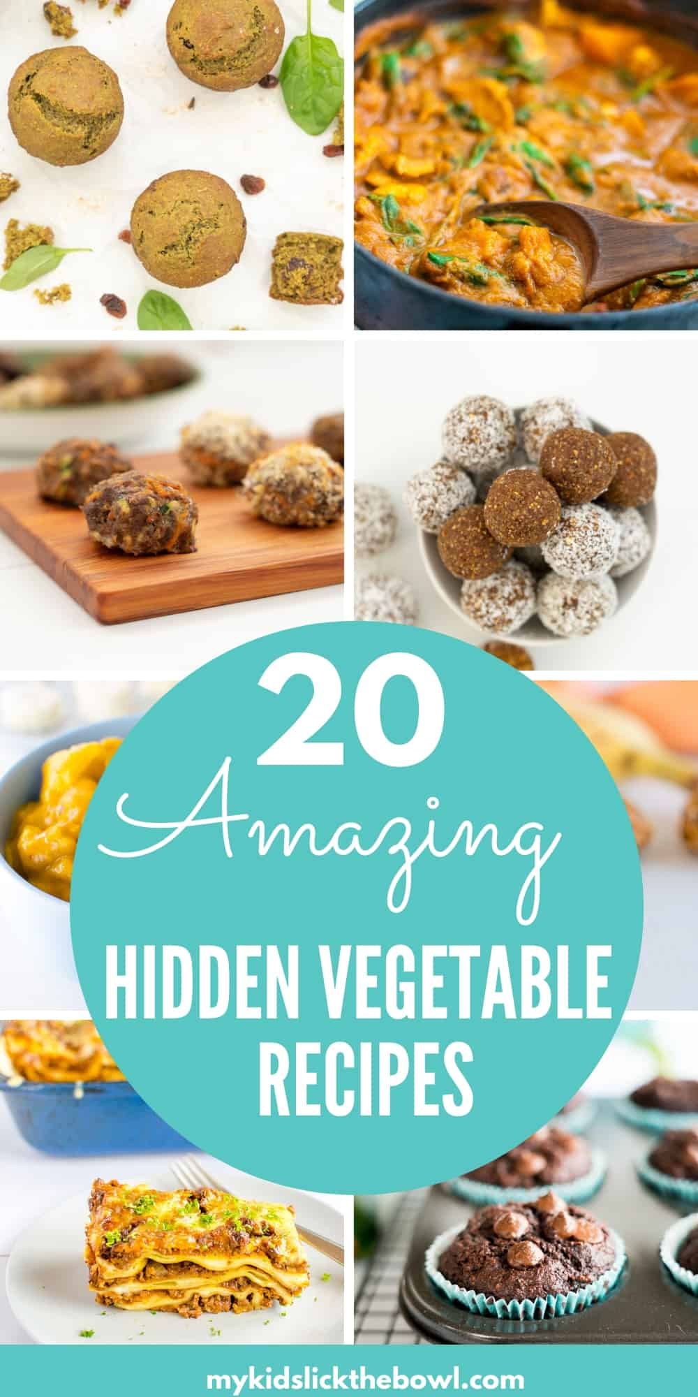 collage of images showing finished hidden vegetable recipes
