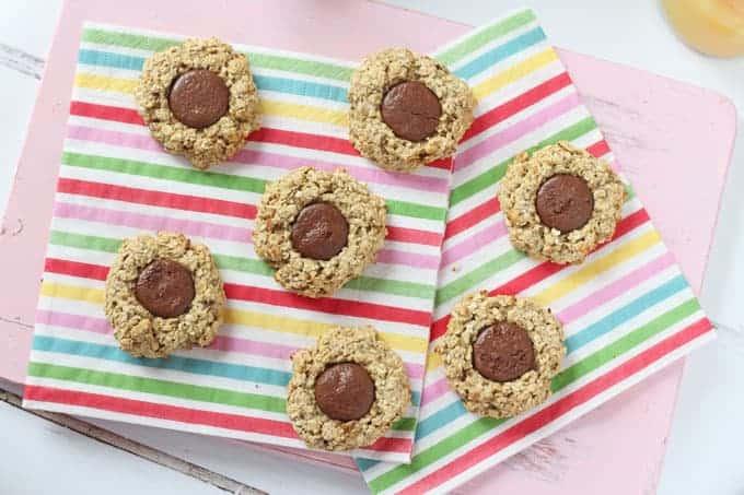 Chocolate Oat Thumbprint Cookies