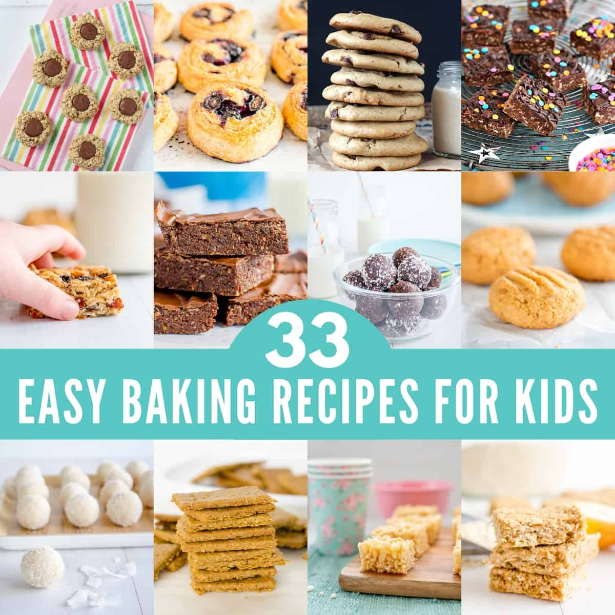 Collage of baking recipes for kids, cookies, cakes, slices