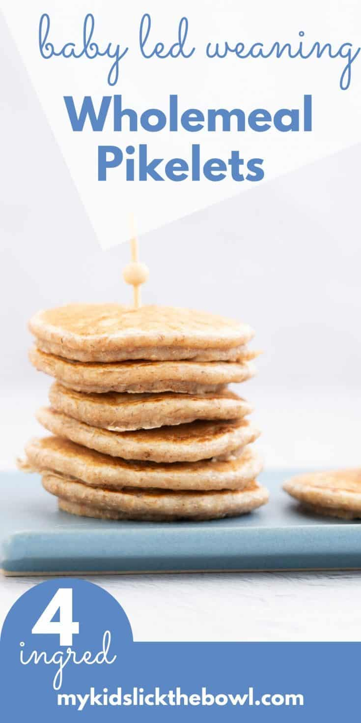 Wholemeal Pikelets are the perfect mini pancake for baby led weaning, you can add all sorts of nutritious toppings for your little one #babyledweaning #homemadebabyfood #babies