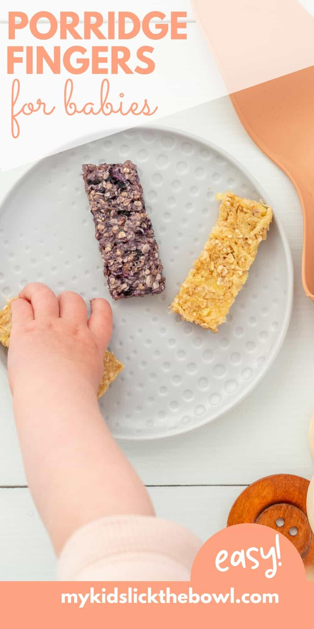 baby's hand reaching for porridge fingers