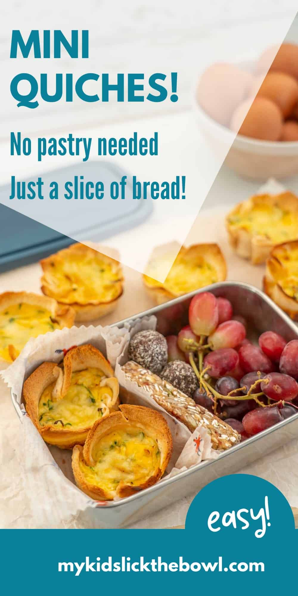 mini quiches in a lunchbox with a granola bar and grapes, text overlay on the image for pinterest