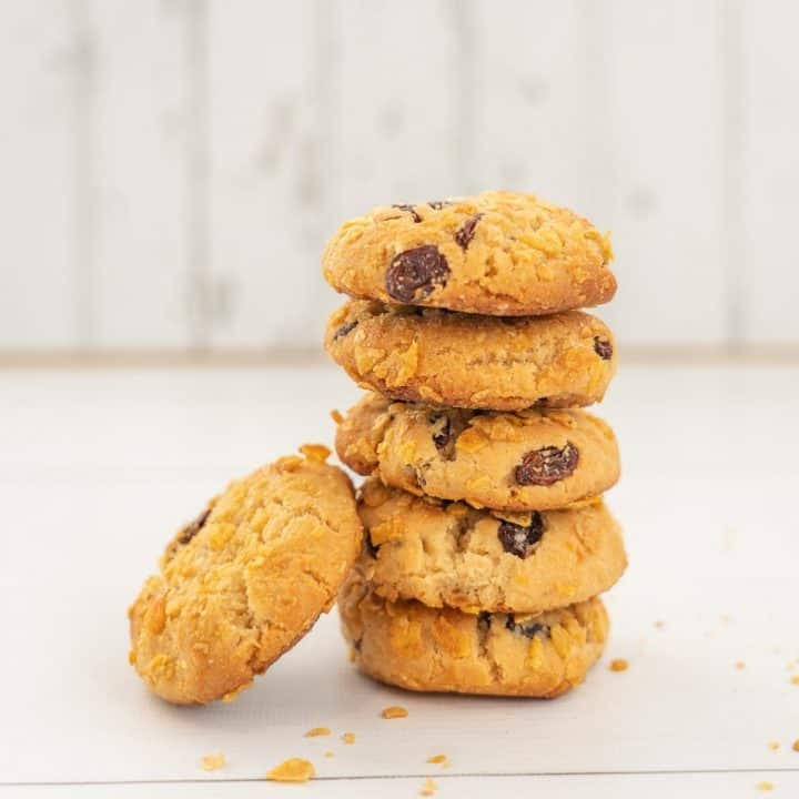 stack of 5 cornflake cookies on a white background, raisins visible