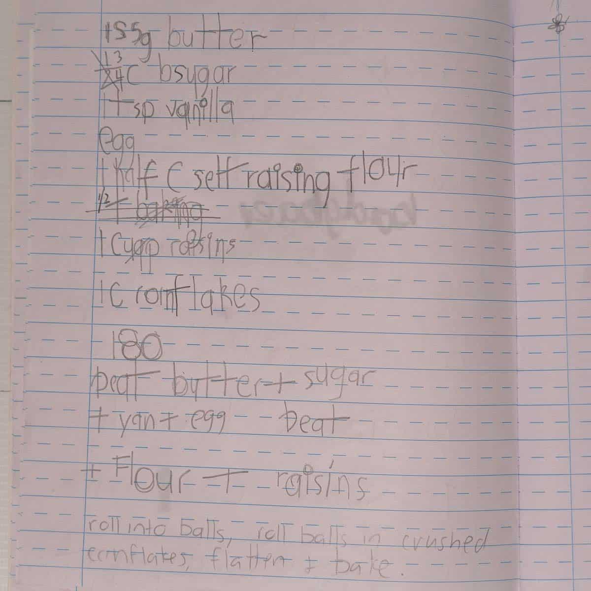 handwritten recipe pn lined paper written in child's handwriting