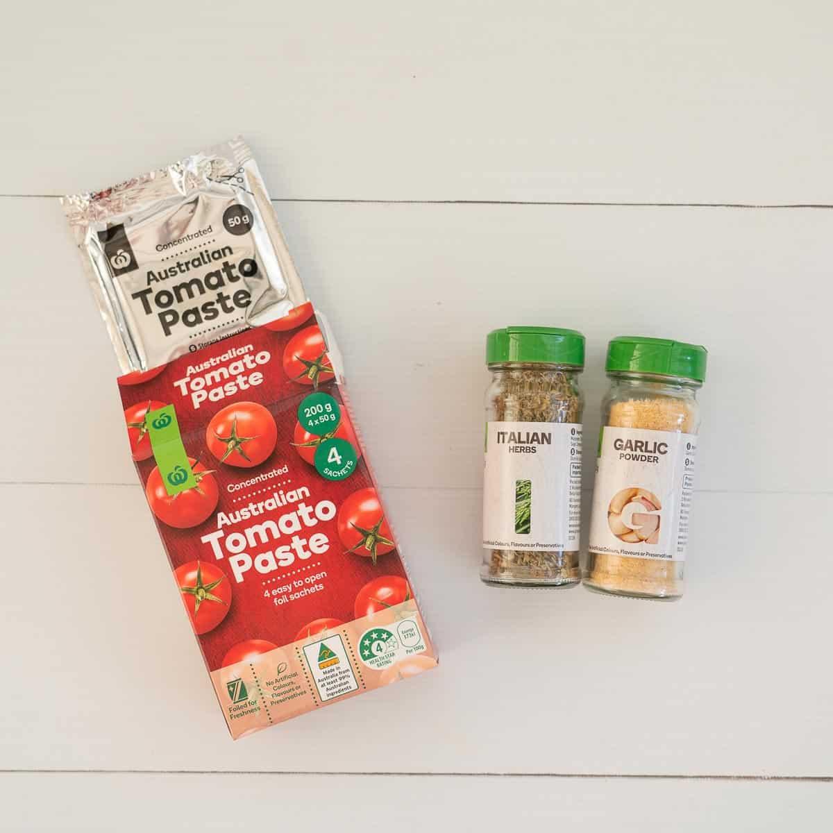 Tomato Paste, Garlic Powder, Italian Herbs