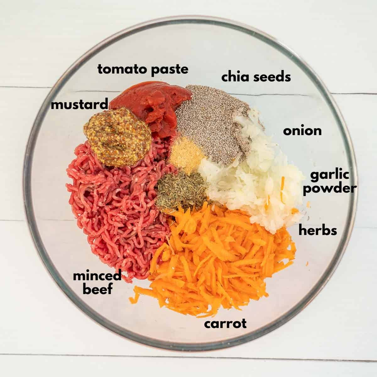 image labeling the meatloaf ingredients, minced beef, mustard, chia seeds, tomato paste, carrot, onion, herbs and spices