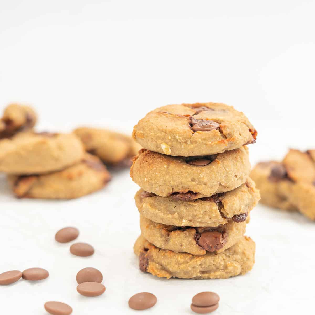 a stack of 5 chocolate chip chickpea cookies