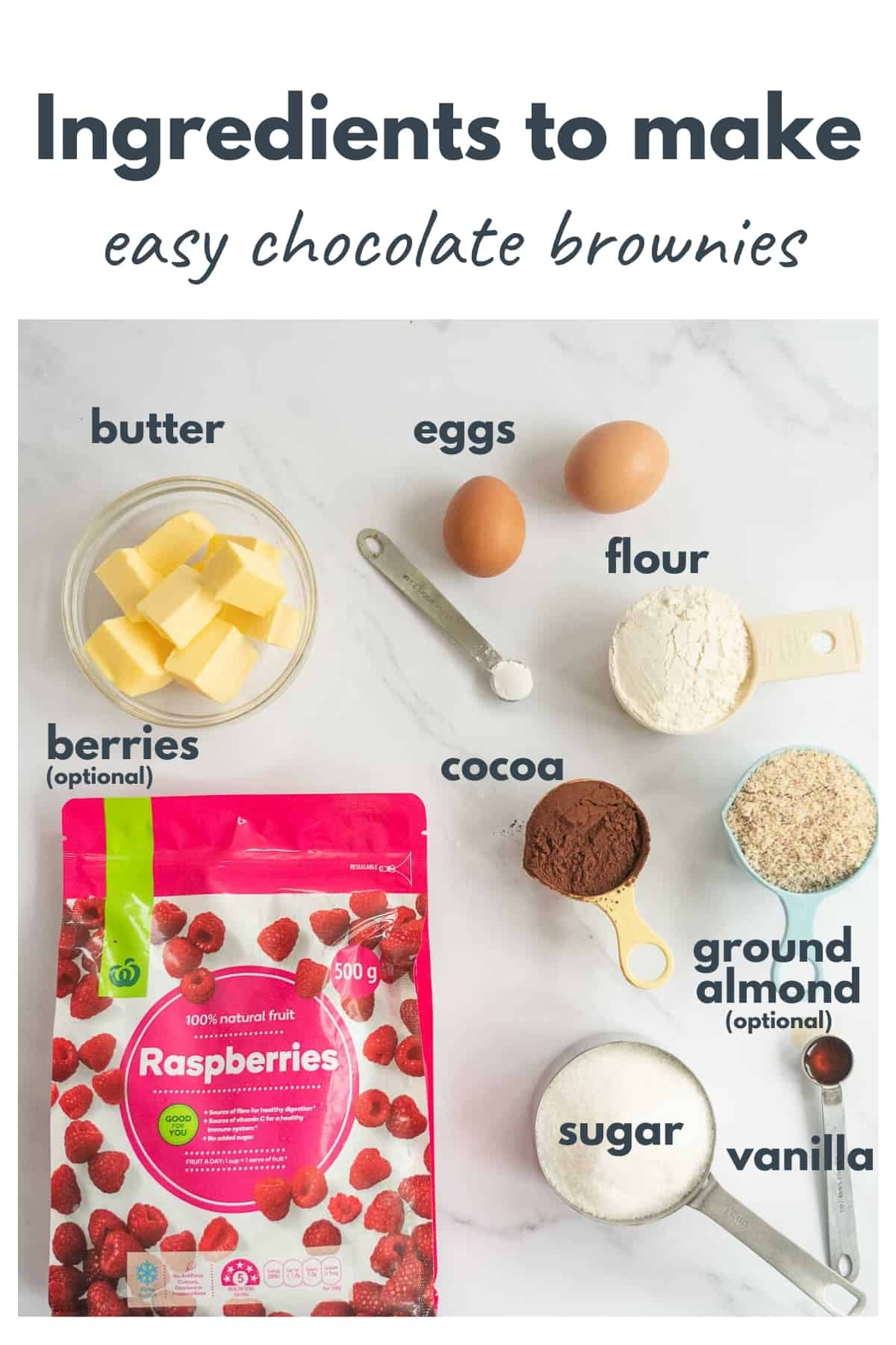 Ingredients for a chocolate brownie recipe laid out on a bench with text overlay