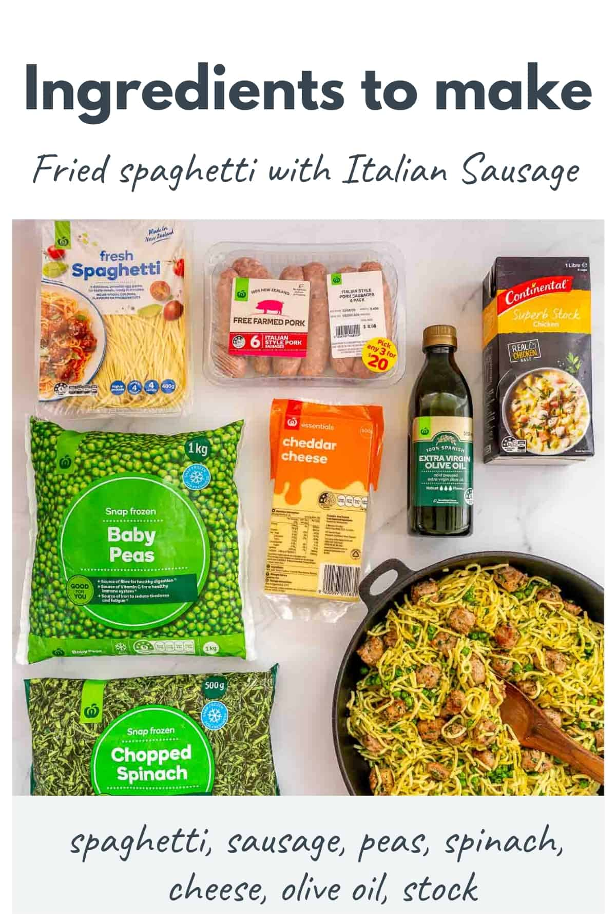 Image showing the 7 ingredients needed for this pasta recipe