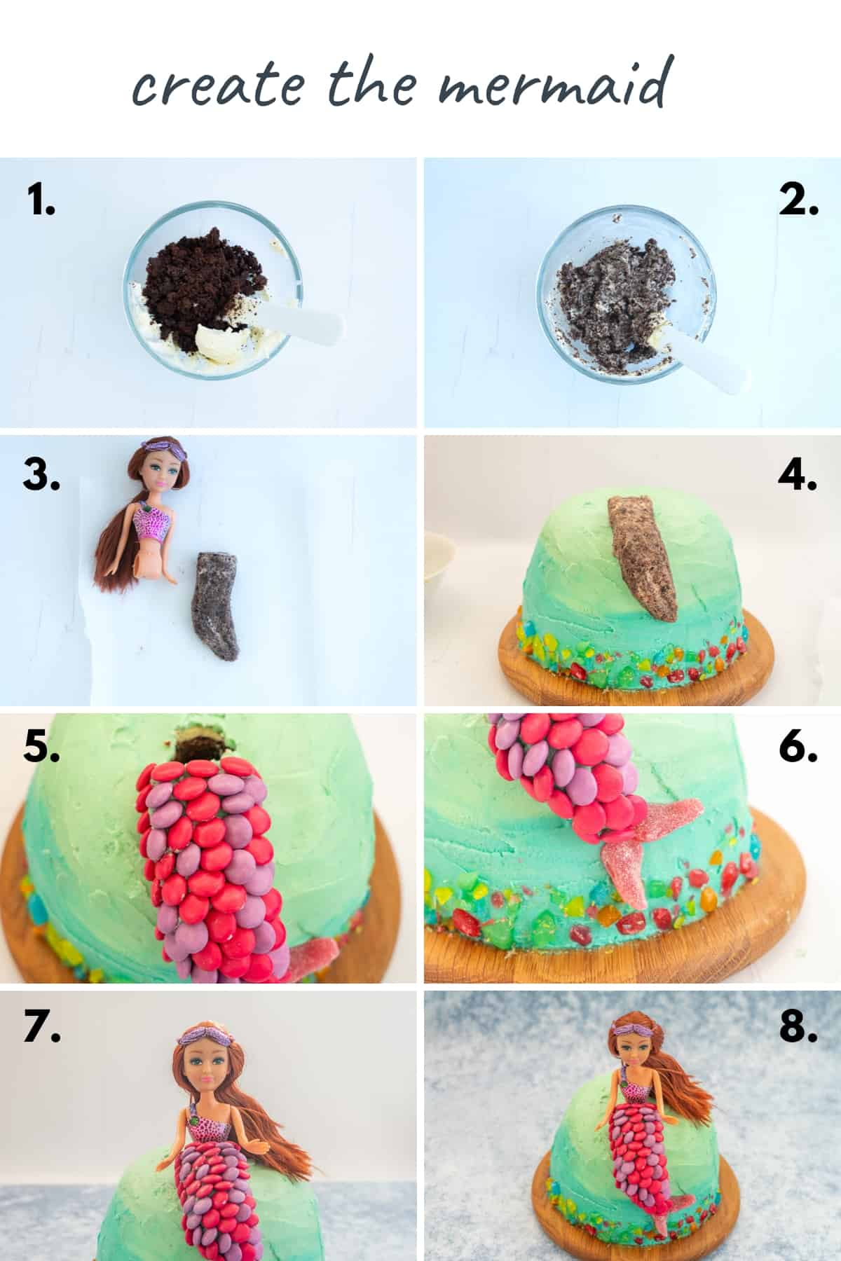 8 photo collage showing the steps to create the mermaid cake topper