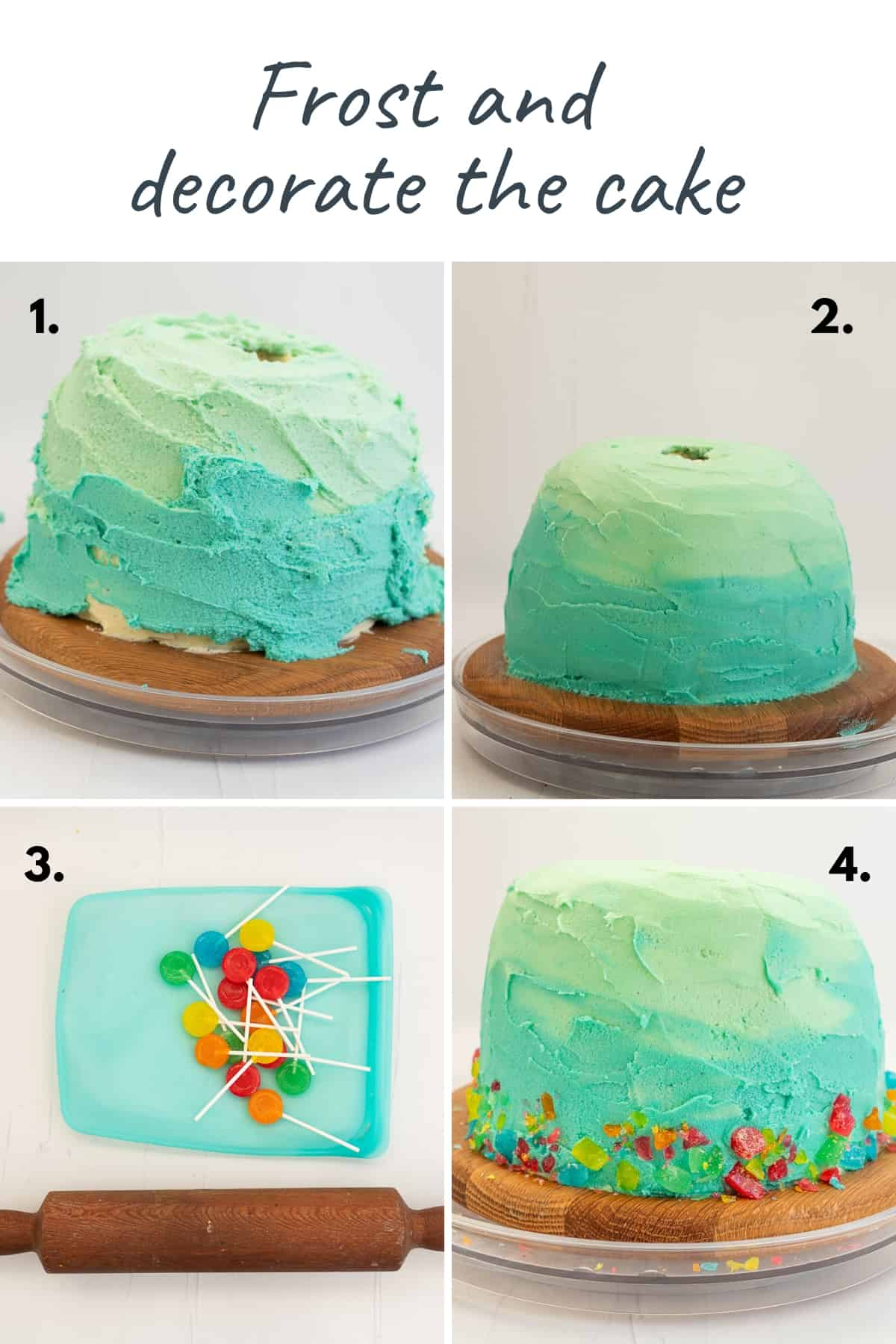Four photo collage showing the steps to frost the cake