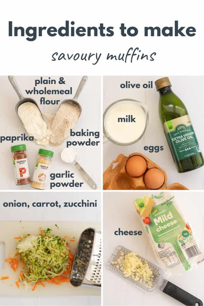 Photo collage with text over lay showing the ingredients for savory muffins