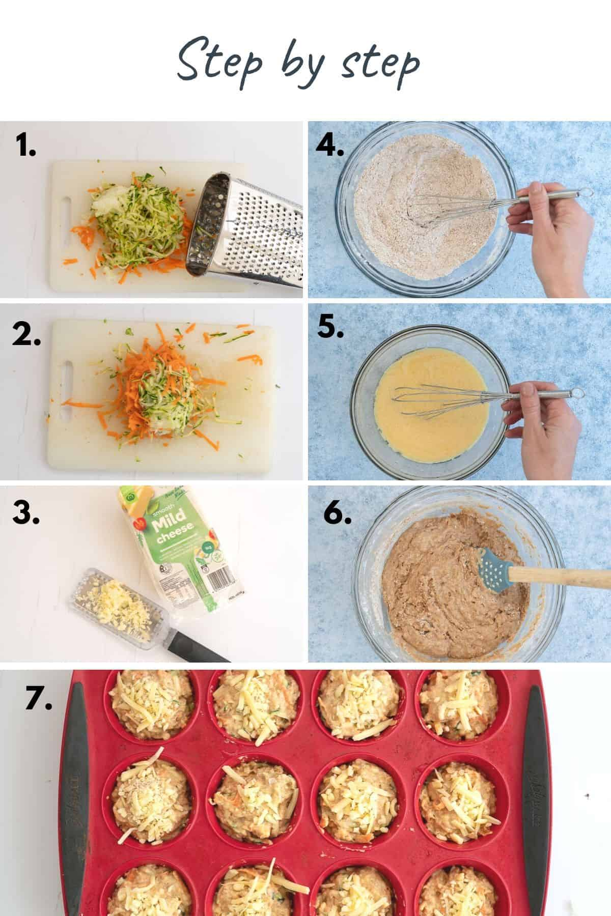 7 photo collage showing the steps to make savoury muffins