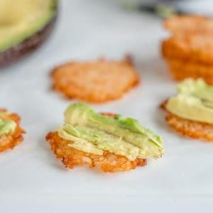 rice cracker topped with avocado