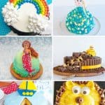8 photo collage of kids birthday cakes with text overlay