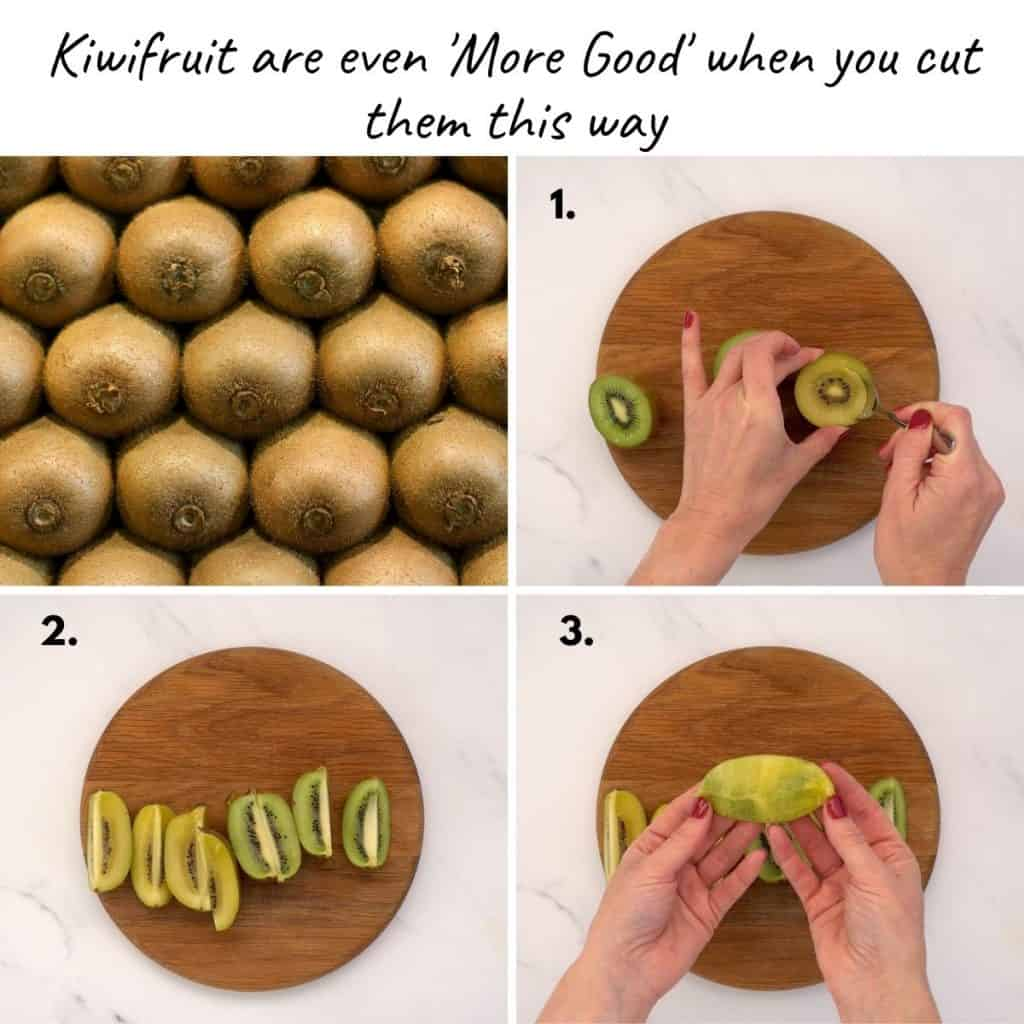 4 photo collage showing how to cut kiwifruit lengthways for kids