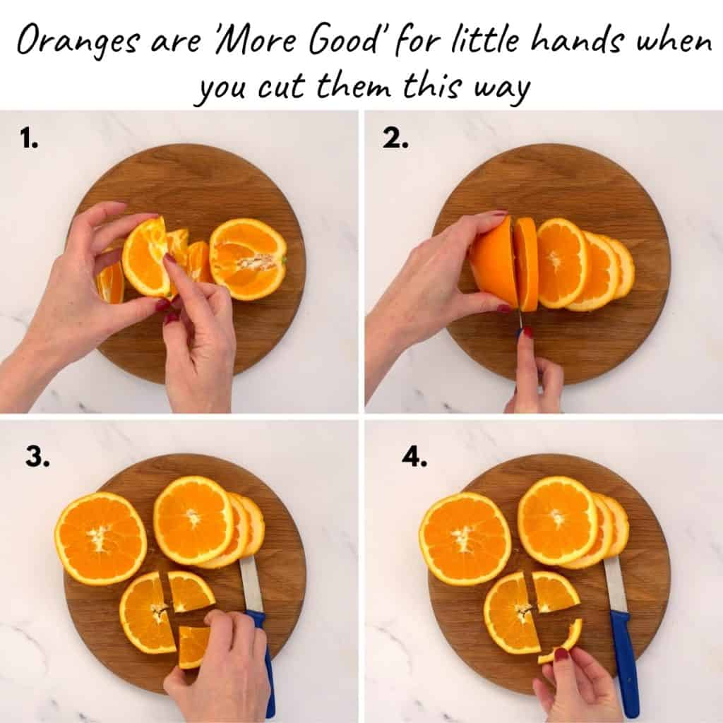 4 photo collage showing how to cut oranges for young children
