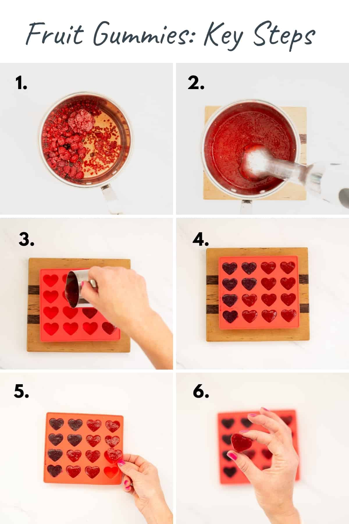 6 photo collage showing the process to make homemade fruit gummies