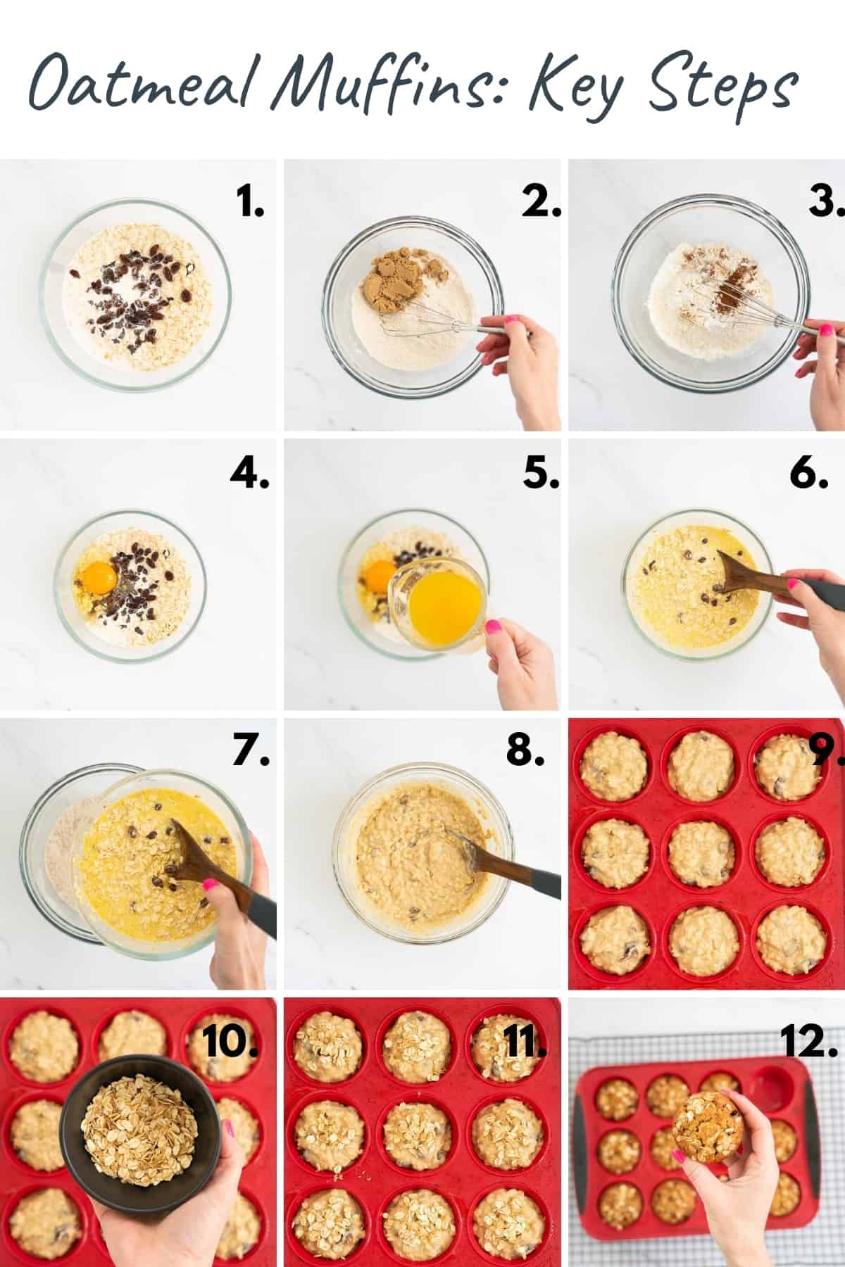 12 photo collage showing the process of making oatmeal muffins