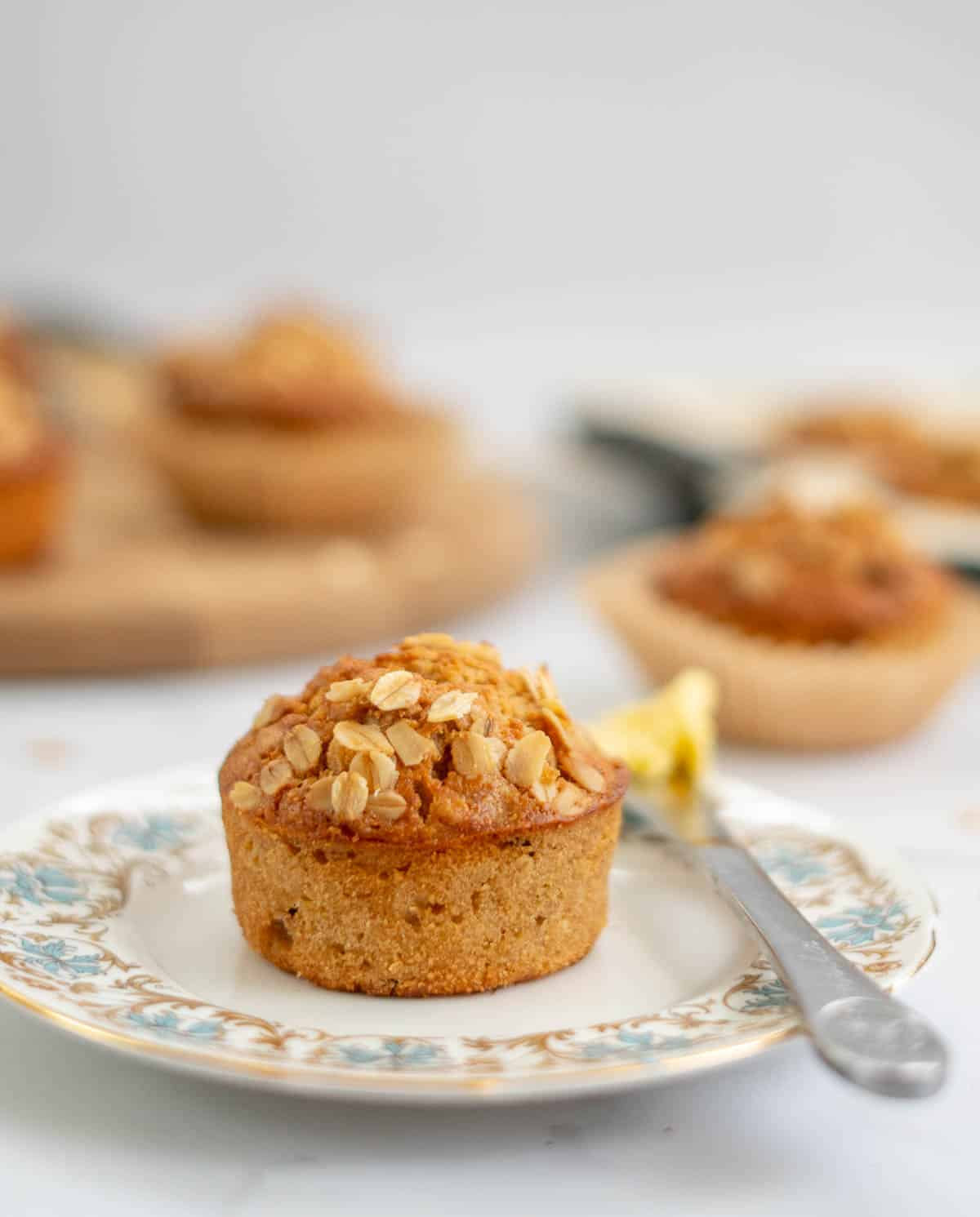 oatmeal muffin on a blue floral plate