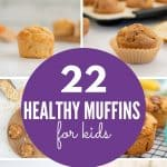 8 image collage of healthy muffins for kids with text overlay