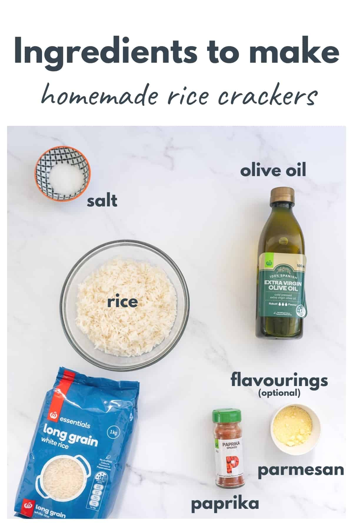 The ingredients to make rice crackers laid out on a bench with text overlay