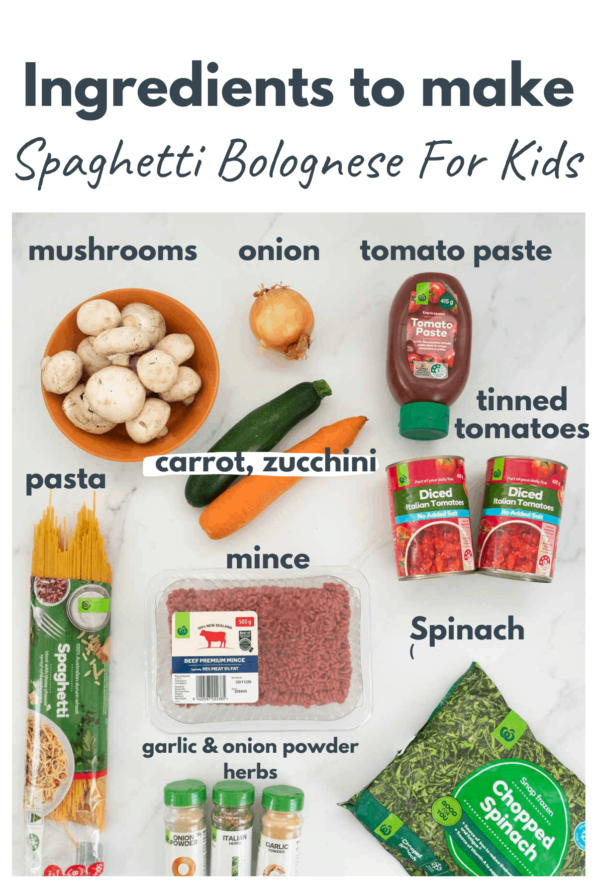 Ingredients to make spaghetti bolognese for kids with text overlay.