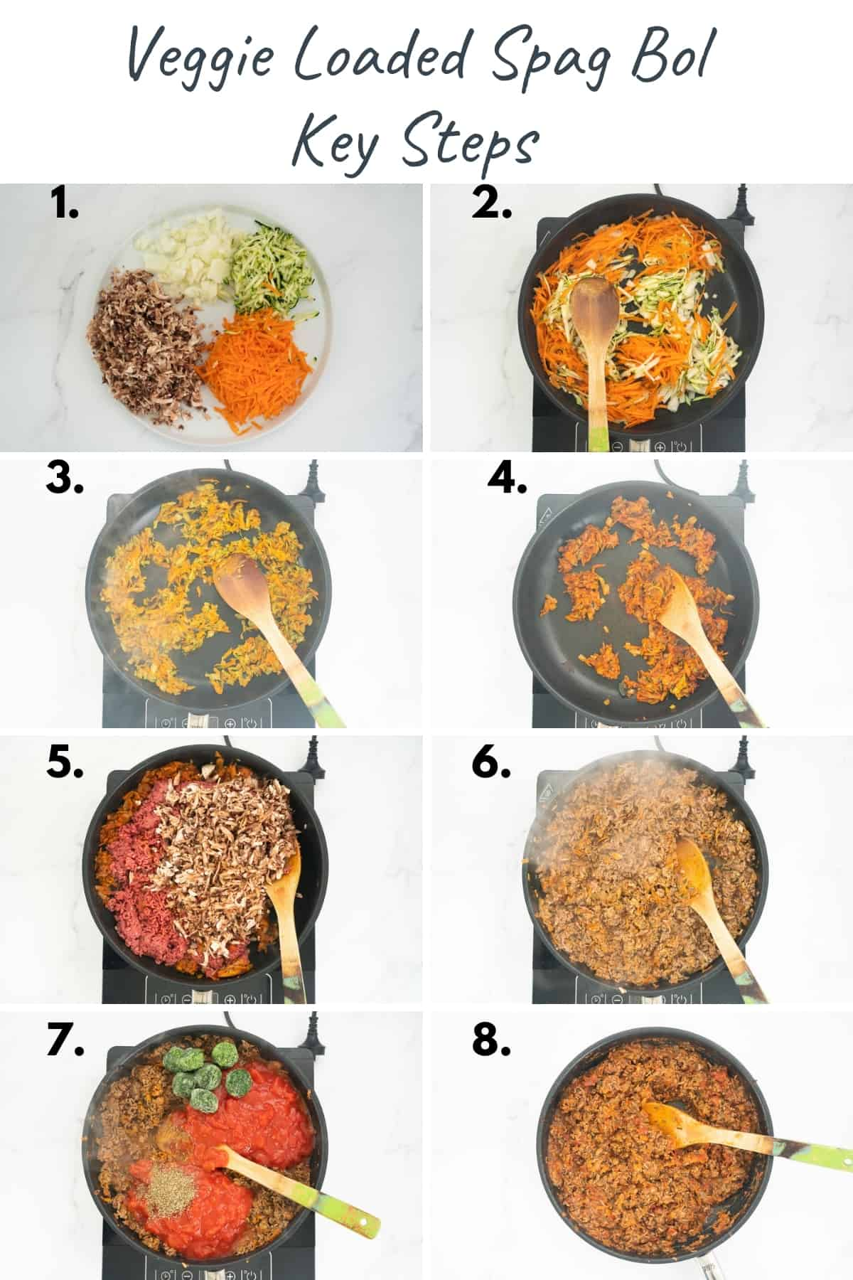 8 photo collage showing the key steps to making a veggie loaded spag bol sauce